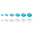 plastic bricks size small to large construction vector image vector image