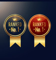 ranked no1 labels set in two colors vector image vector image