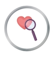 Searching a love icon in cartoon style isolated on vector image vector image