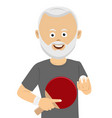 senior man holding ping pong racket and ball vector image