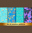 set floral seamless patterns with precious vector image vector image