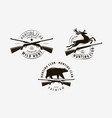 set hunting club labels hunt logo vector image