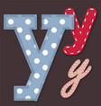 Set of stitched font - Letter Y vector image vector image