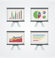 set presentation boards with pie charts vector image