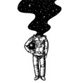 soaring spaceman space and galaxy in head vector image vector image