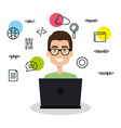 software language programmer avatar vector image vector image