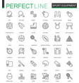 sport equipment thin line web icons set outline vector image vector image