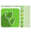 Stethoscope Icon and Medical Longshadow Icon Set vector image vector image