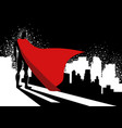 superhero standing on edge high building vector image