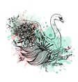 Swan watercolor abstract graphic colored bird
