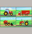 tractor grain truck on field vector image
