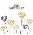 valentines decorative hearts on sticks card vector image vector image