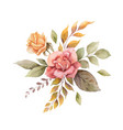 watercolor autumn arrangement with roses vector image vector image