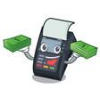 with money bag edc machine in cartoon shape vector image