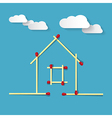 House Symbol Made from Matches on Blue Background vector image