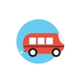 Line Icon with Flat Graphics Element of Bus vector image