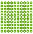 100 landmarks icons hexagon green vector image vector image