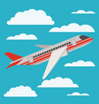 airplane flying with cloudscape vector image vector image