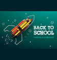 back to school creative banner rocket ship launch vector image vector image