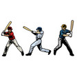 baseball player set swinging bat vector image