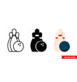 bowling icon 3 types isolated sign vector image vector image