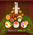 breakfast of fried eggs coffee and other meals vector image