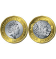 british coin one pound new 12-sided design vector image
