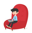 businessman work in red chair vector image vector image