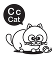 C Cat cartoon and alphabet for children to vector image vector image