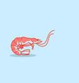 cartoon red shrimb icon fresh seafood concept hand vector image