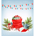 Christmas presents with a garland and a sack full vector image vector image