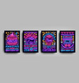 circus collection of posters design templates neon vector image