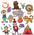 Circus doodle icon set vector | Price: 3 Credits (USD $3)