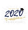 class 2020 congratulations graduation vector image vector image