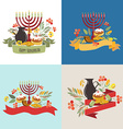 Collection of labels and elements for Hanukkah vector image