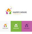 colorful house logo with abstract man silhouette vector image vector image