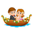 couple are posing on beautiful boat vector image