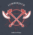 Crossed Axes Lumberjack Graphic Tee T-print vector image vector image