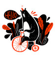 cute bear riding a bike collection of hand drawn vector image vector image