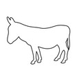 donkey standing of black contour curves on white vector image vector image