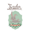 easter poster with bunny in frame with ornament vector image vector image