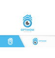 eye and real estate logo combination optic vector image