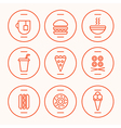 FastFood Line Icons vector image vector image