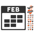 february calendar grid icon with love bonus vector image vector image