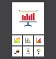 flat icon graph set of monitoring easel vector image