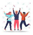 friends jumping together for friendship concept vector image vector image