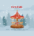 fun fair carnival carousel with pony horses vector image vector image