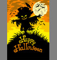 happy halloween sign with scarecrow vector image