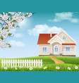 house on a hill and a blossoming tree vector image vector image