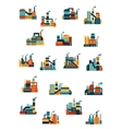 Industrial factories and plants flat icons vector image vector image